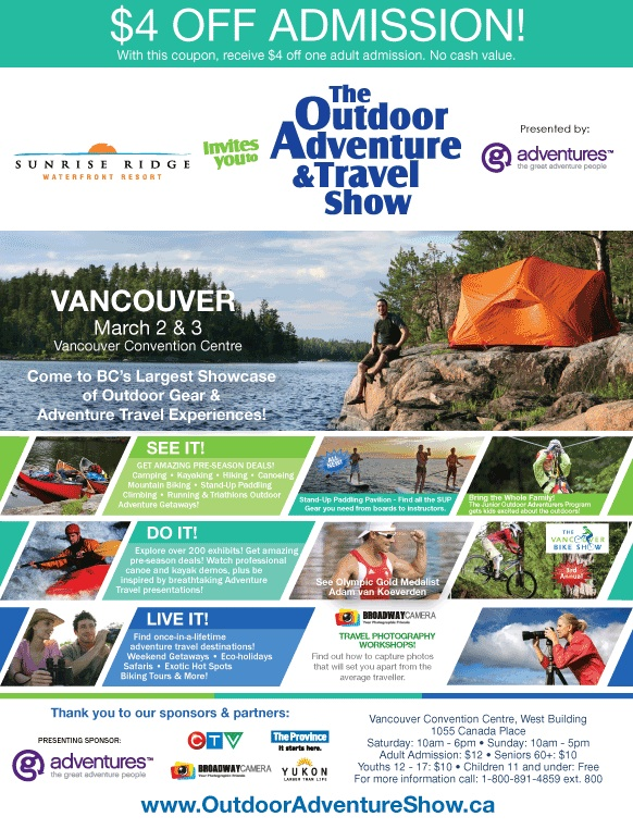 Visit Sunrise Ridge at the Vancouver Outdoor Adventure & Travel Show
